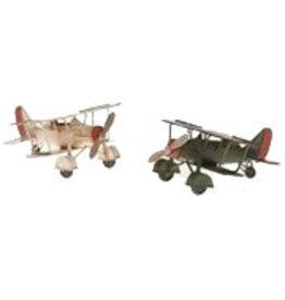 W.F. Peters Vliegtuigen dubbeldekker crême groen 15,5 x 16 x 16,5 cm  per set van 2 stuks
