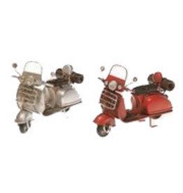 W.F. Peters Scooters grijs en rood 11,5 x 5,5 x 7,5 cm per set van 2