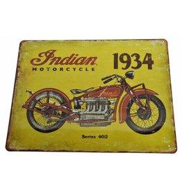 W.F. Peters Indian motor Cycle  gestanst metalen rand