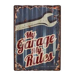 W.F. Peters Tin Sign gestanst metaal ''My Garage'' (Golvend)