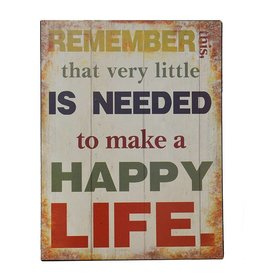 W.F. Peters Tin Sign ''Remember Happy Life''