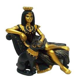 W.F. Peters Cleopatra liggend met Basted Zwart/goud hg 13- lg 14 cm