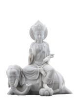 W.F. Peters Quan Yin zitt.op olifant (albast wit), 19,5x10,5x23 cm