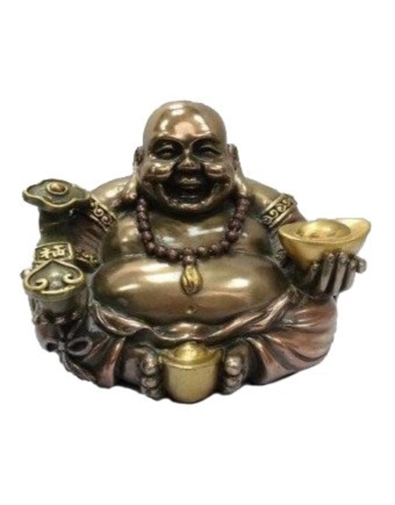 W.F. Peters Happy Buddha zittend met goudschaal bronskleur
