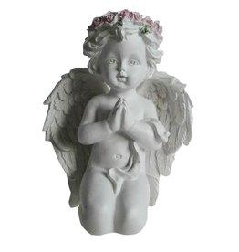 W.F. Peters Biddend Engeltje geknield hg 17 cm met roze roosjes