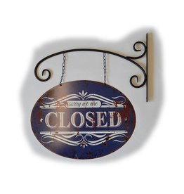 W.F. Peters Tin Sign ''Sorry we are closed/open'' hangend
