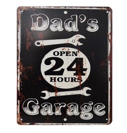 W.F. Peters Tin Sign ''Dad's Garage Open''