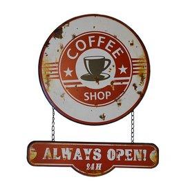 W.F. Peters Wandplaat Coffee always open 41x50cm