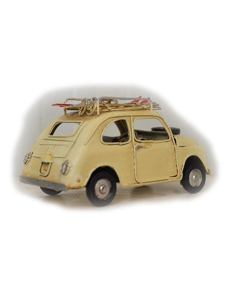 W.F. Peters Auto beige met ski's 15x7x8cm