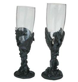 H.Originals Draak champagne glas 18 X 7 CM 2 assortiment