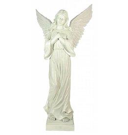 W.F. Peters Staande Engel handen v borst (antiek wit) hg 95 cm voor binnen en buiten