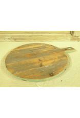 Dutch mood | Zaltii Houten ronde snijplank, met groen rand 33x45x3.5 centimeter.