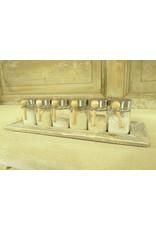 Dutch mood | Zaltii Houten tray met 6 (kruiden)potjes, 47x15x12 centimeter.