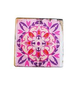 Dutch mood | Zaltii Houten onderzetters  tegel roze 9x9 centimeter.