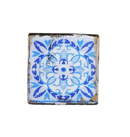 Dutch mood | Zaltii Houten onderzetters  tegel blauw 9x9 centimeter.