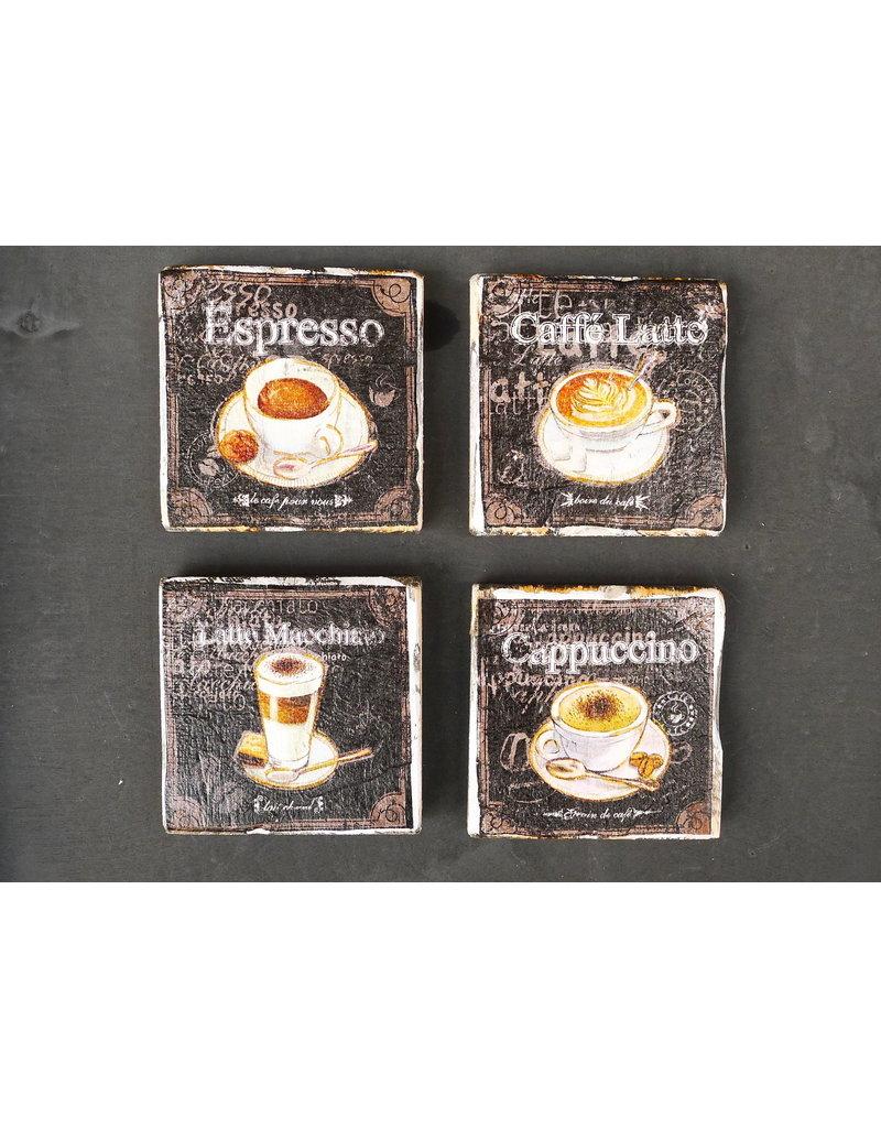 Dutch mood | Zaltii Houten onderzetter coffee time 9x9 centimeter, gebundeld met een touwtje.