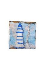 Dutch mood | Zaltii Houten onderzetter beach 9x9 centimeter, gebundeld met een touwtje.