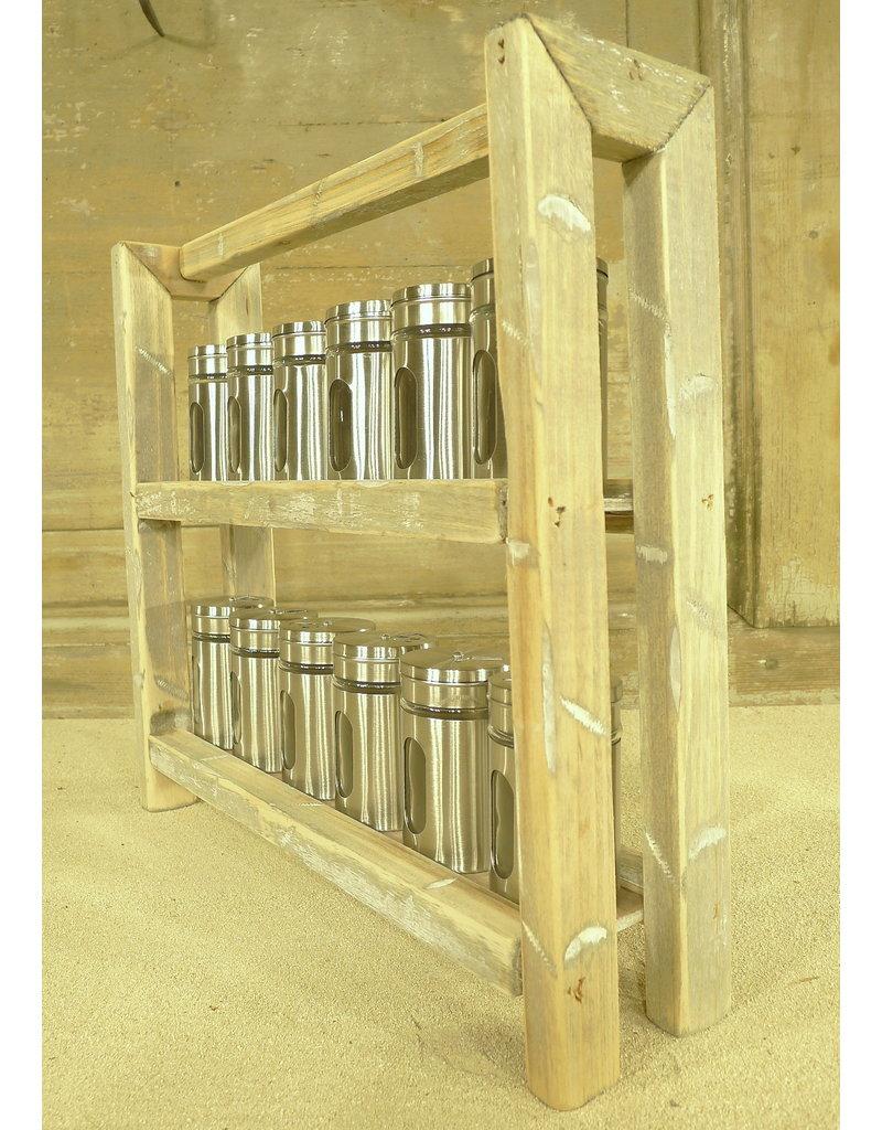 Dutch mood | Zaltii Houten kruidenpotjes houder met 12 potjes, afmeting 35x9x35 centimeter.