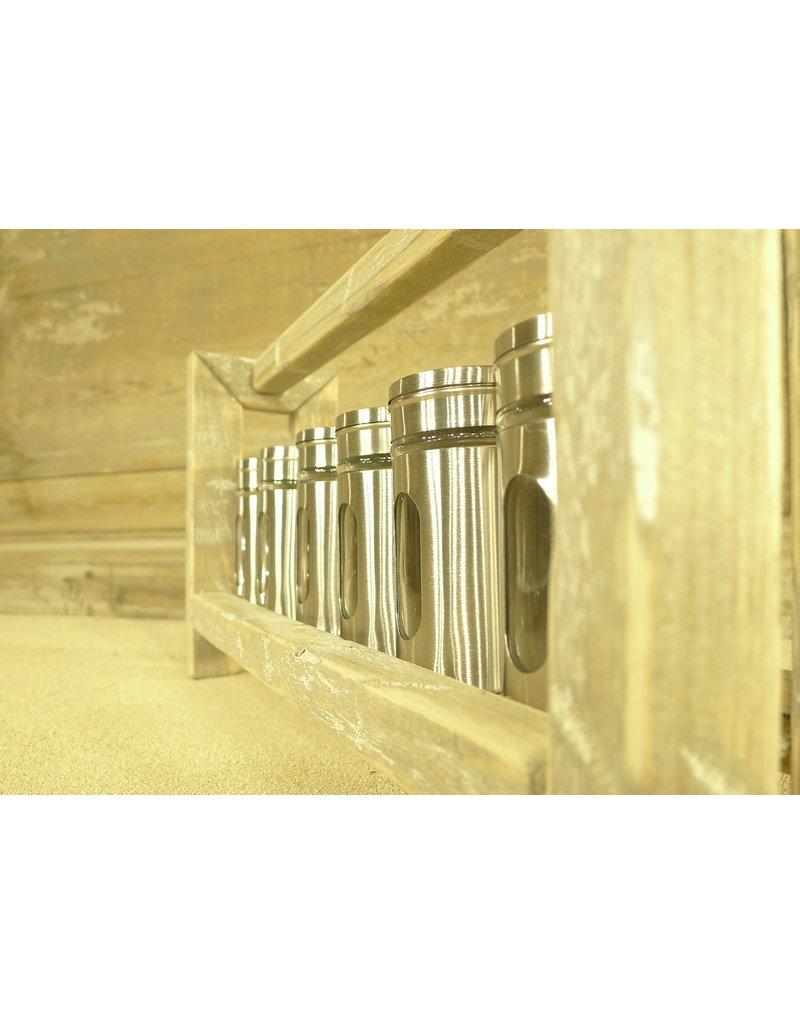 Dutch mood | Zaltii Houten kruidenpotjes houder met 6 potjes, afmeting 35x9x19 centimeter.