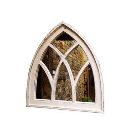Dutch mood | Zaltii Tuinspiegel van hout in de vorm van een kerkraam 55x61 centimeter