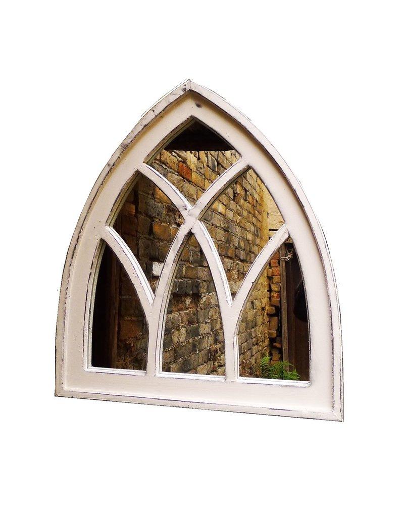 Dutch mood   Zaltii Tuinspiegel van hout in de vorm van een kerkraam 55x61 centimeter. De kleinste in onze serie tuinspiegels van hout.