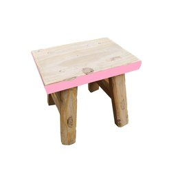 Dutch mood | Zaltii Houten krukje met roze rand, 25x15x20 centimeter.