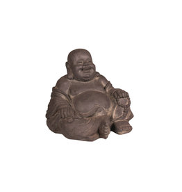 Stone-Lite BOEDDHA HAPPY 24 CM DONKER GRIJS