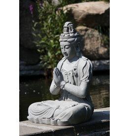 Stone-Lite BOEDDHA KWAN YIN ZIT 44X36X59 CM GRIJS MAILORDER PACKING