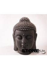 Stone-Lite BOEDDHA HOOFD M 31X30X42 CM - MAILORDER PACKING DONKER GRIJS