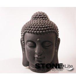 Stone-Lite BOEDDHA HOOFD 47X47X70 CM - MAILORDER PACKING DONKER GRIJS