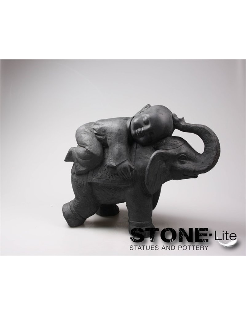 Stone-Lite BOEDDHA SHAOLIN OP OLIFANT 55X24X44 CM DONKER GRIJS