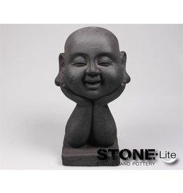 Stone-Lite BOEDDHA HOOFD OP HAND 18X16X37 CM DONKER GRIJS
