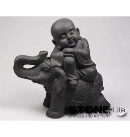 Stone-Lite BOEDDHA OP OLIFANT 44X24X41 DONKER GRIJS