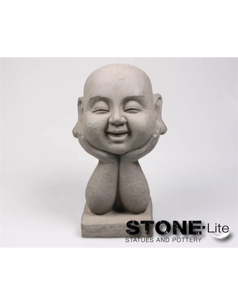 Stone-Lite BOEDDHA HOOFD OP HAND 18X16X37 CM GRIJS