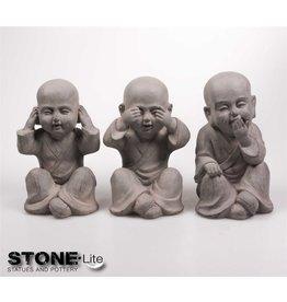 Stone-Lite BOEDDHA SHAOLIN HOREN, ZIEN, ZWIJGEN SET 3 15X12X25 CM GRIJS