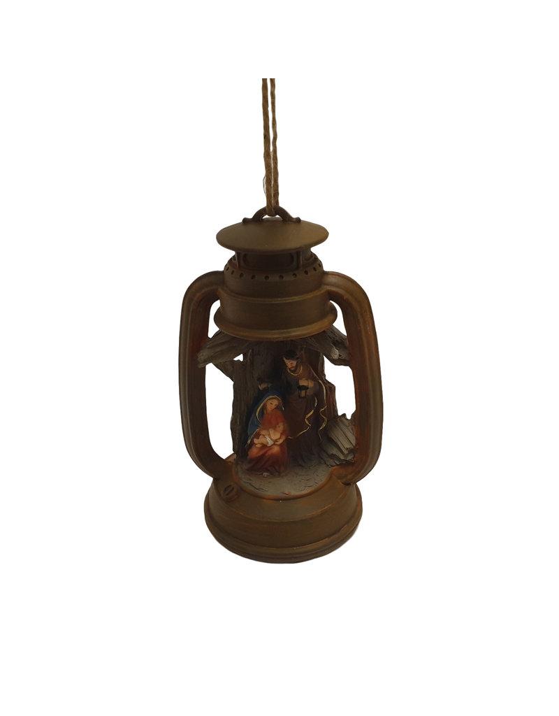 Kerststal met LED in lantaarn 14x12x22cm