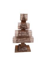 Set van 2 dennenhouten kerstbomen 38 en 52cm