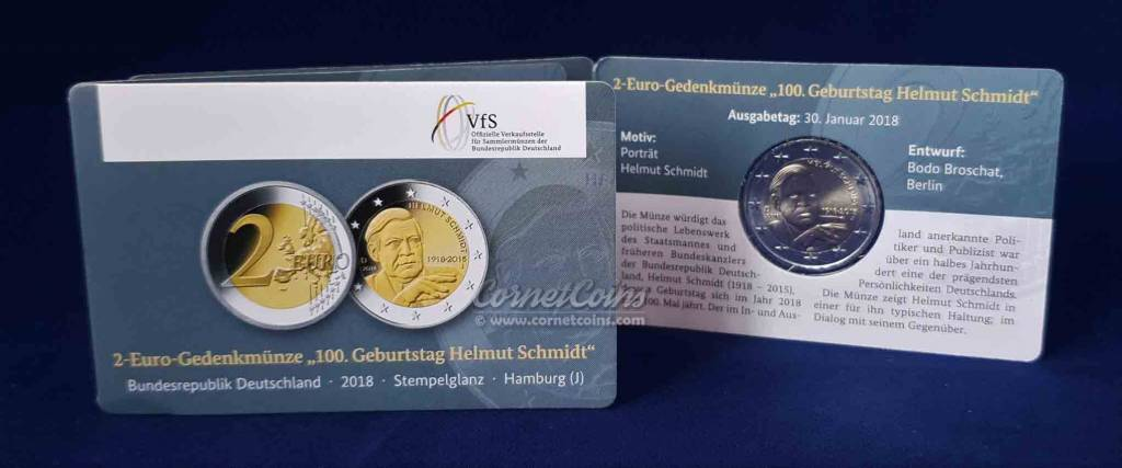 Cornetcoins Germany 2018 2 Euro Helmut Schmidt J Bu Coincard