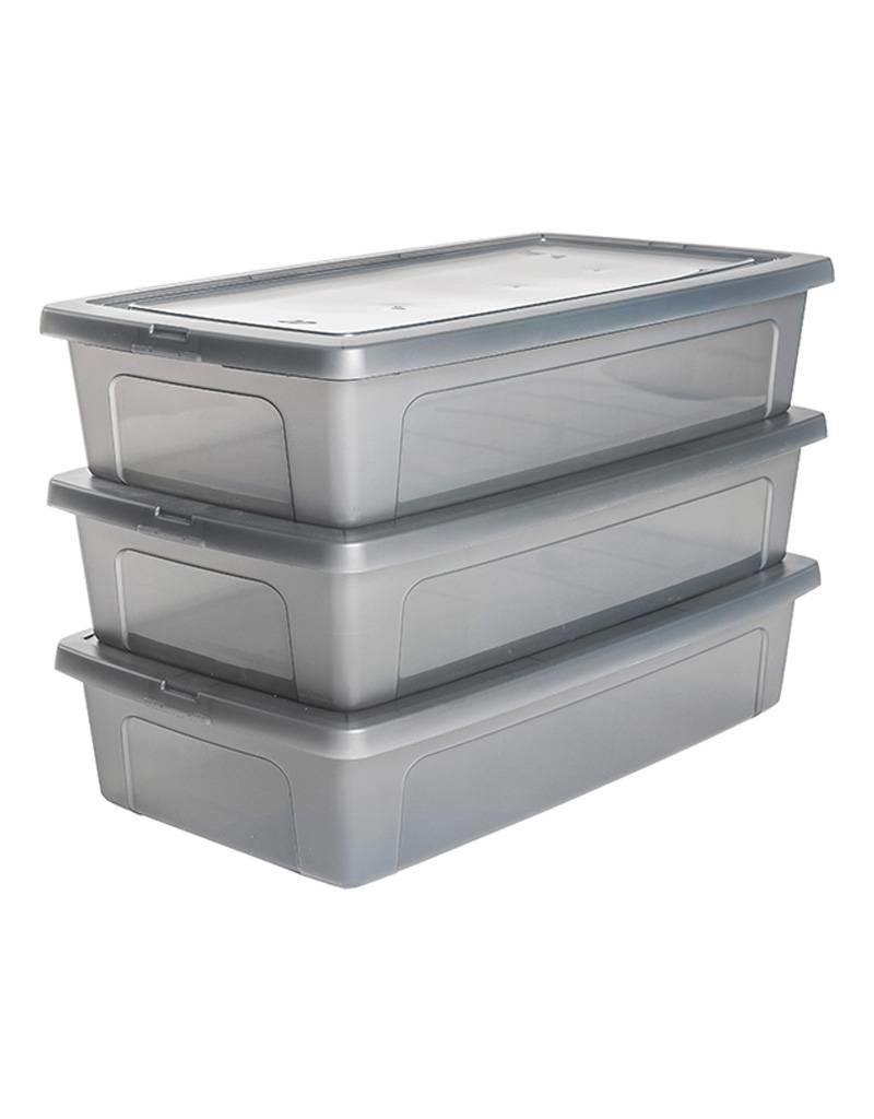 IRIS Modular Clear Box onderbedbox - 30 liter - set van 3