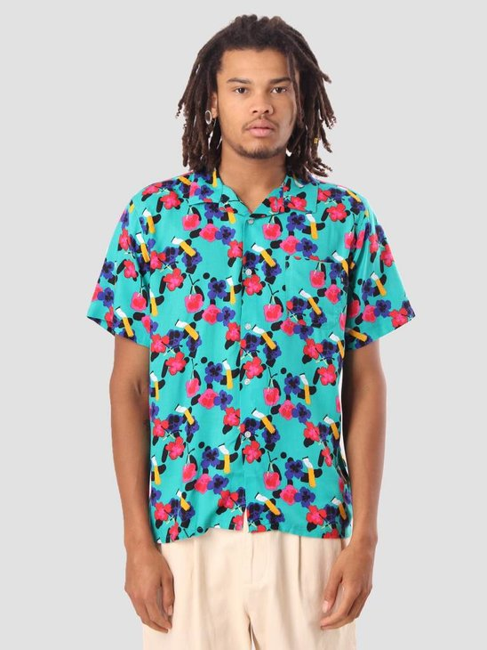 Obey Ashed Out Woven Shirt Teal 181210205