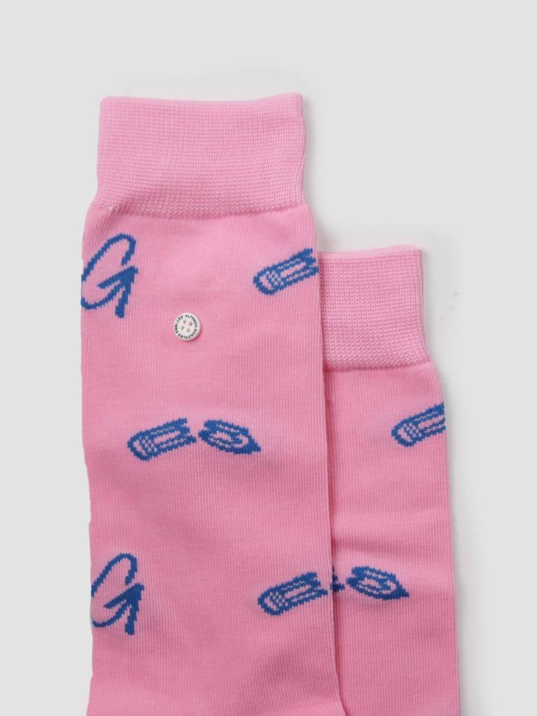Alfredo Gonzales Alfredo Gonzales Broken Pencil Logo Socks Pink Blue AG-Sk-LO-03