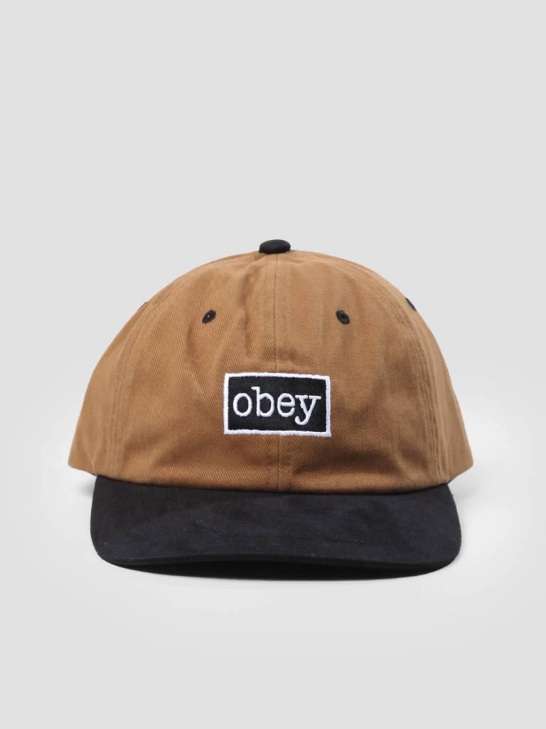 Obey Obey Brooks 6 Panel Snapback Bone Brown 100580124