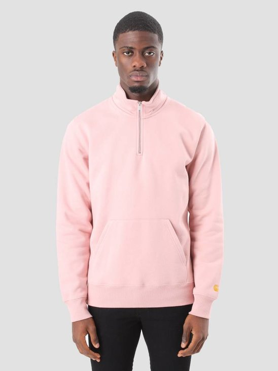 Carhartt WIP Chase Neck Zip Sweater Soft Rose Gold I024811