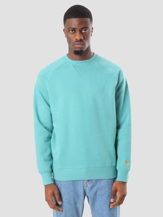 Carhartt WIP Chase Sweater Soft Teal Gold I024652-715