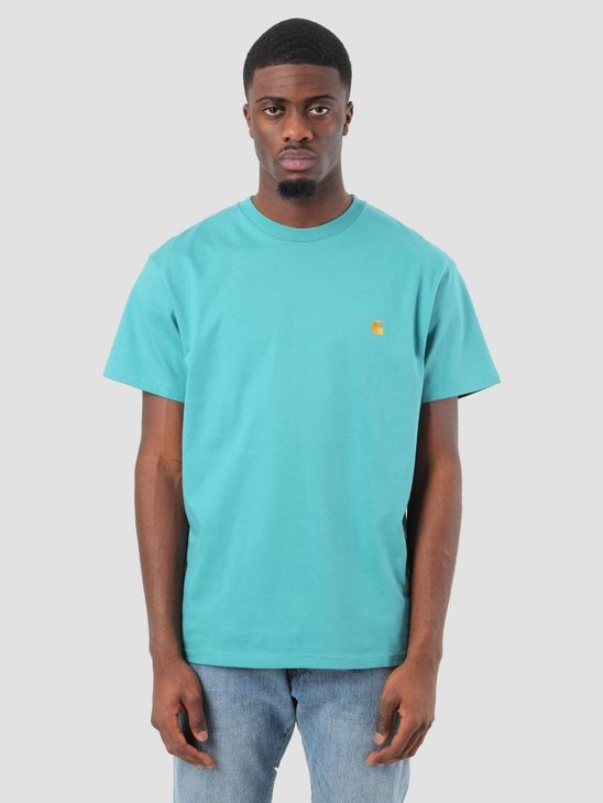 Carhartt Chase T-Shirt Soft Teal Gold I021949-71500