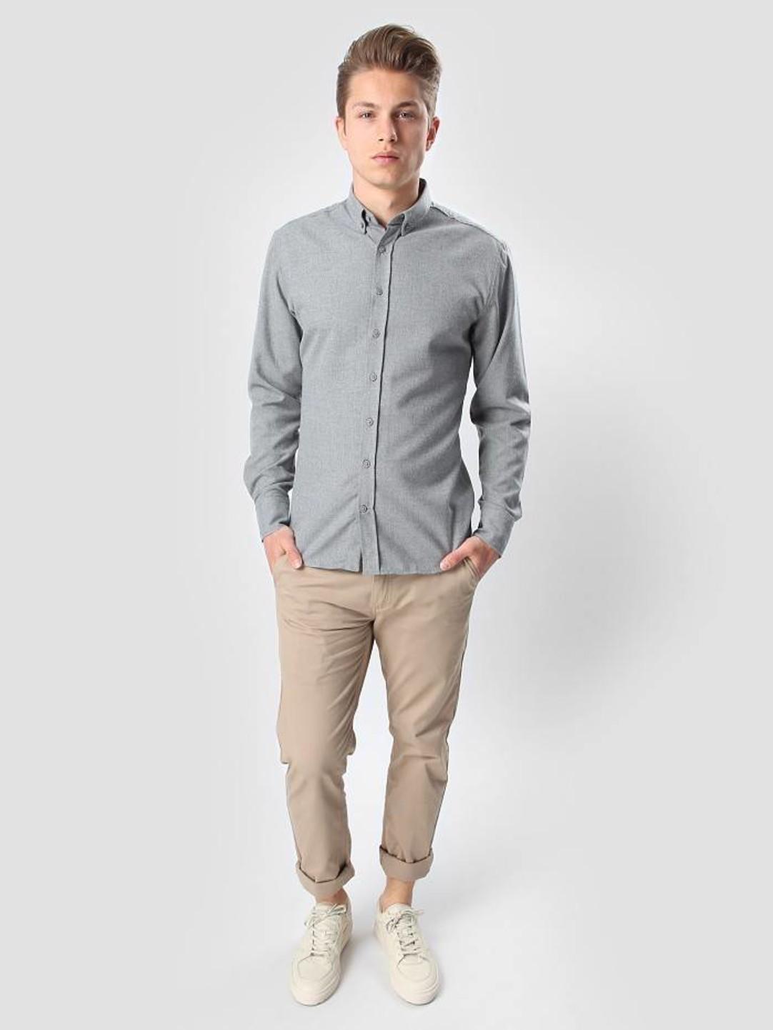 Kronstadt Kronstadt Dean Flannel Basic Shirt Grey 20425