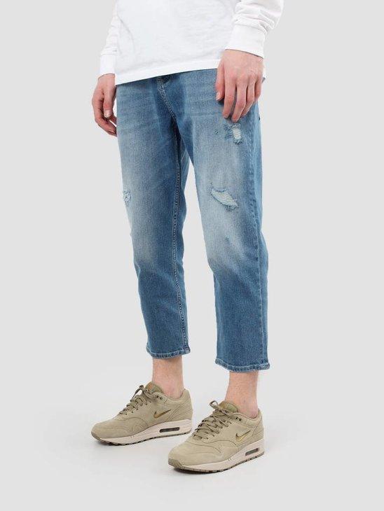 RVLT Destroyed Wash Jeans Crop Light Blue 5507