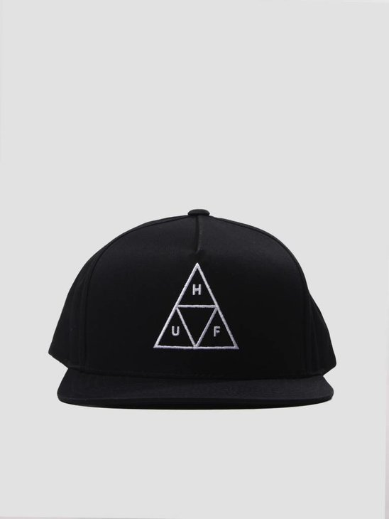 HUF Essentials Triple Triangle Snapback Hat Black HT00301