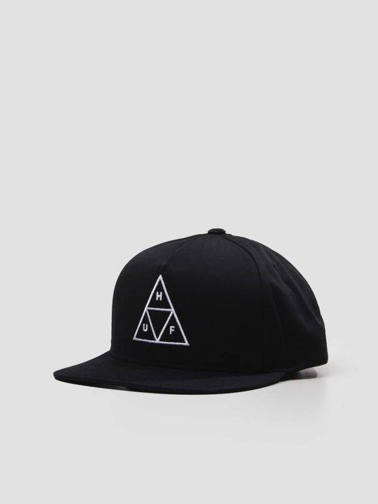 HUF Essentials Triple Triangle Snapback Hat Black HT00301