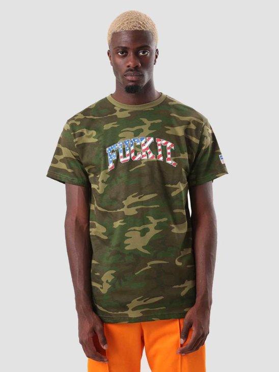 HUF Fuck It Camo Flag T-Shirt Woodland Camo TS00622